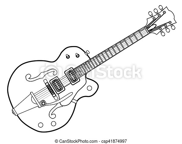 Country And Western Guitar Outline A Typical Country And Western