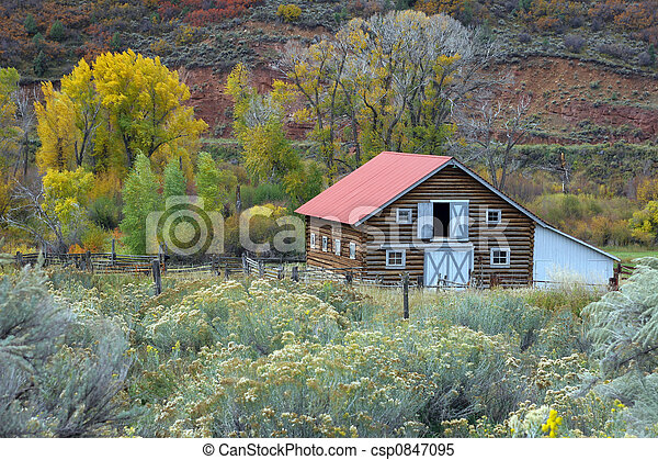 Country barn in autumn - csp0847095