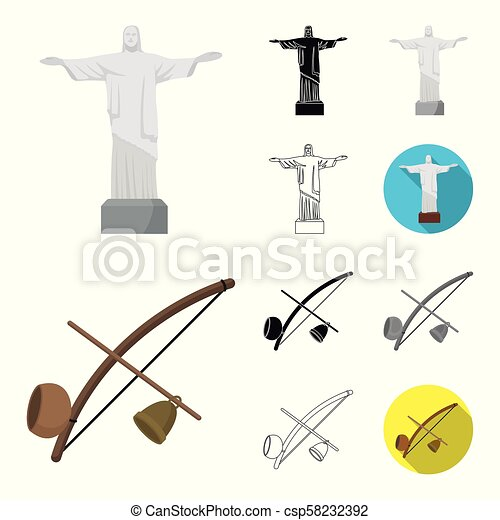 Country Brazil cartoon, black, flat, monochrome, outline icons in set collection for design. Travel and attractions Brazil vector symbol stock web illustration. - csp58232392