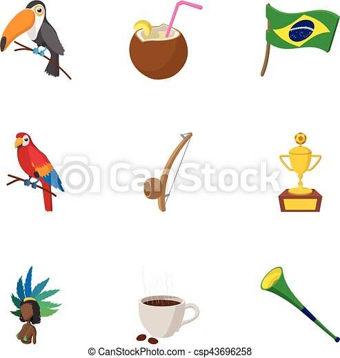 Country Brazil icons set, cartoon style - csp43696258