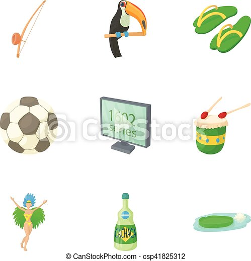 Country Brazil icons set, cartoon style - csp41825312