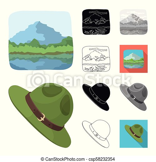 Country Canada cartoon, black, flat, monochrome, outline icons in set collection for design. Canada and landmark vector symbol stock web illustration. - csp58232354
