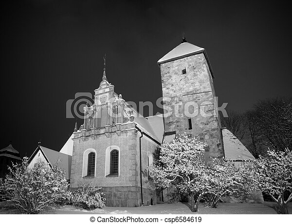 Country church in winter - csp6584619