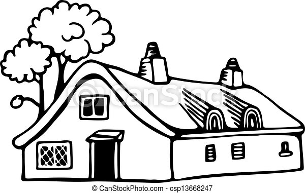 Country Cottage Simple Black And White Line Drawing Of A