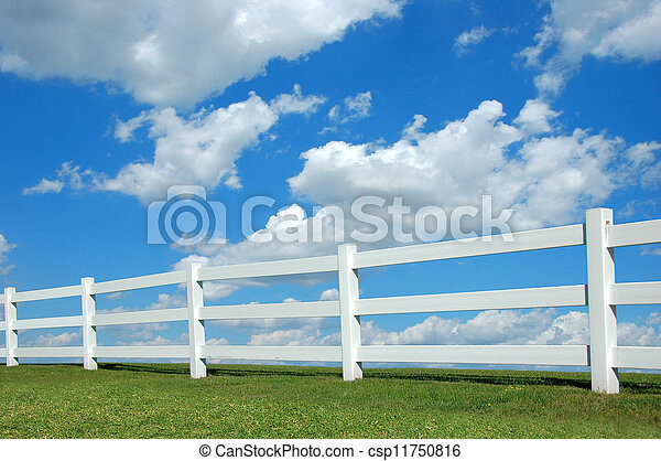 Country Fence ald Clouds - csp11750816