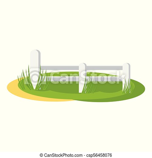 Country fence illustration. Fence around the farm field ...