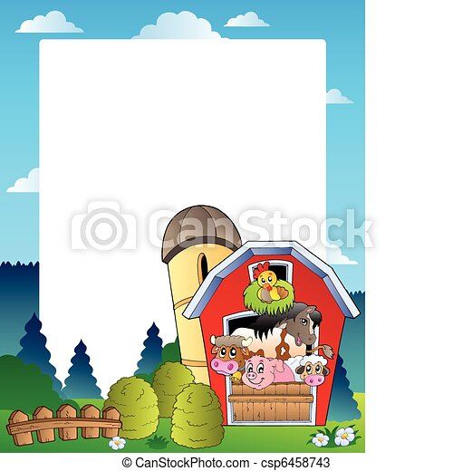 Country frame with red barn 3 - csp6458743