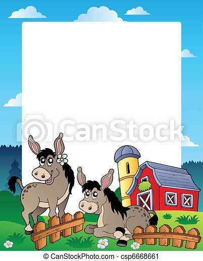 Country frame with red barn 5 - csp6668661