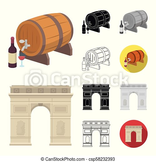 Country France cartoon, black, flat, monochrome, outline icons in set collection for design. France and landmark vector symbol stock web illustration. - csp58232393