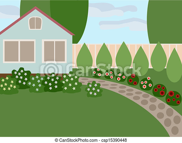 country-house-with-lawn-eps-vector_csp15390448 Small House Design Front Yard Fence on