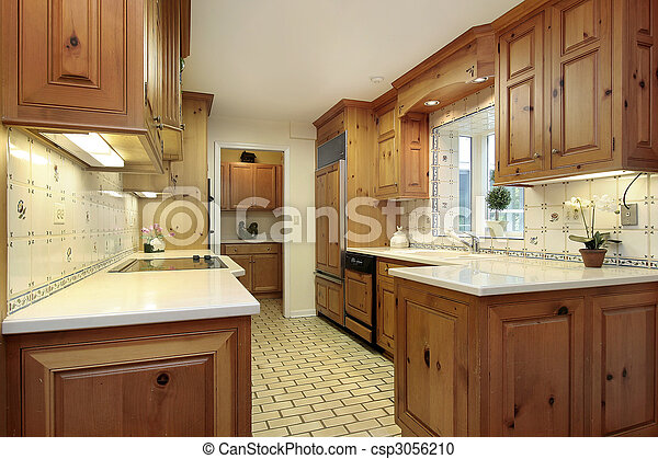 Country kitchen with wood cabinets - csp3056210