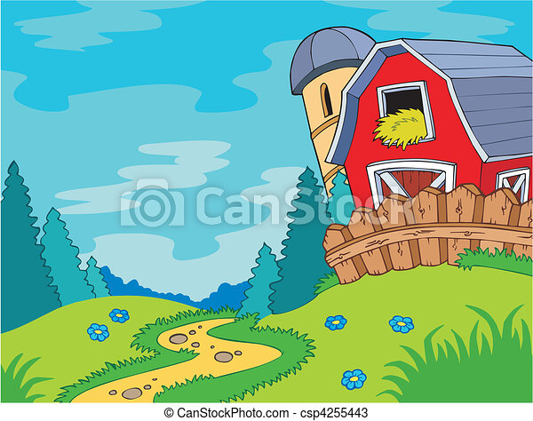 Country landscape with barn - csp4255443