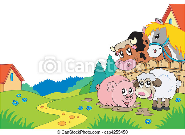 Country landscape with farm animals - csp4255450