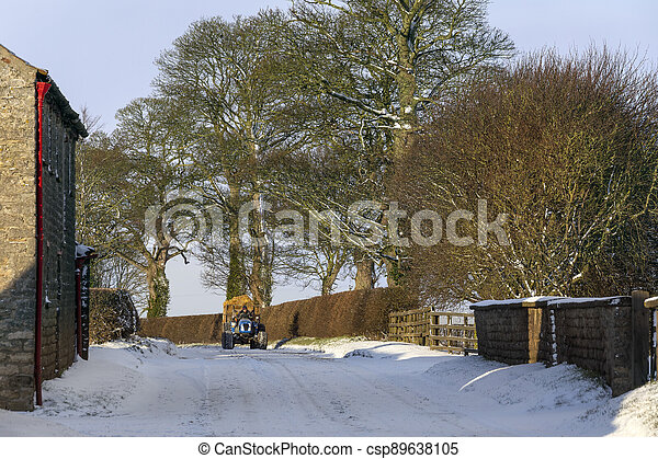 Country lane in North Yorkshire - England - csp89638105