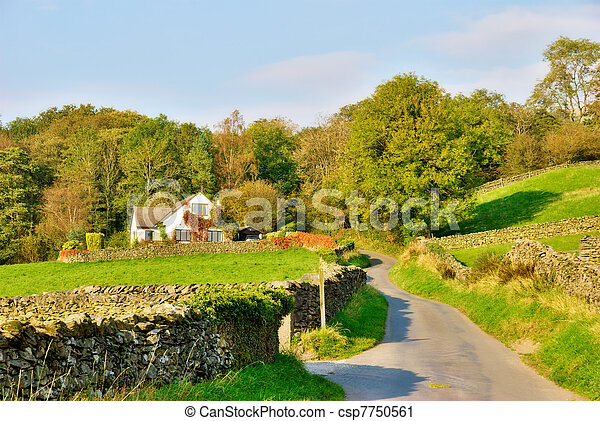Country lane leading to a house - csp7750561