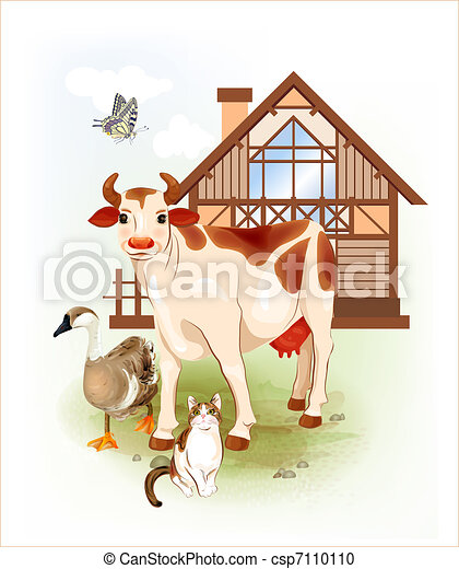 Country life.  Farm animals. Cow, cat and goose. - csp7110110