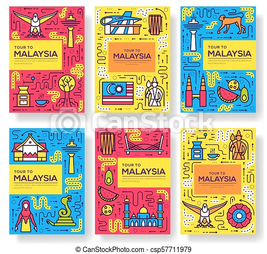 Country Malaysia travel vector brochure cards thin line  architecture  template of flyear, magazines, posters, book cover, banners  Layout  monument set
