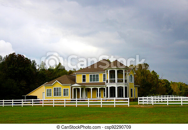 Country Mansion With White Fence - csp92290709