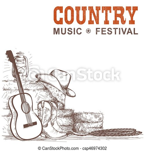 country music background with guitar and american cowboy vector rh canstockphoto com country music clipart graphics country music clipart black and white