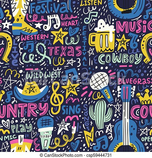 Country Music Pattern Handdrawn Seamless Pattern With Various