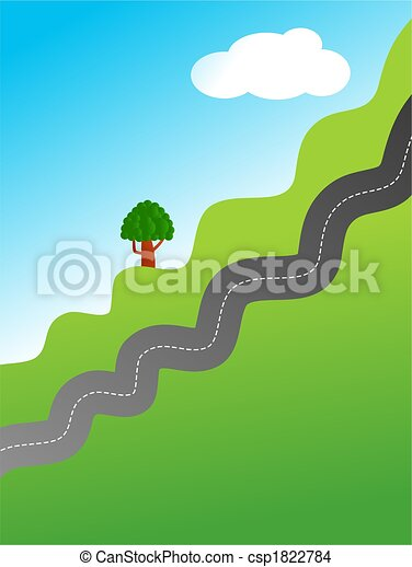 A Illustration Of A Bendy Country Road Travelling Up A
