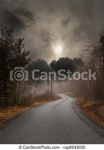 Country road in autumn - csp6543030