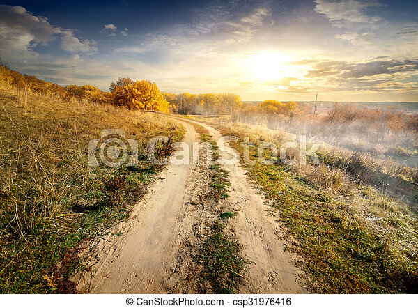 Country road in fog - csp31976416