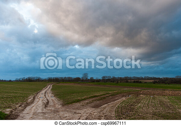 Country Road in the east flemish country side - csp69967111