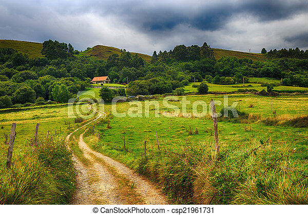 country road to a house in the mountains - csp21961731