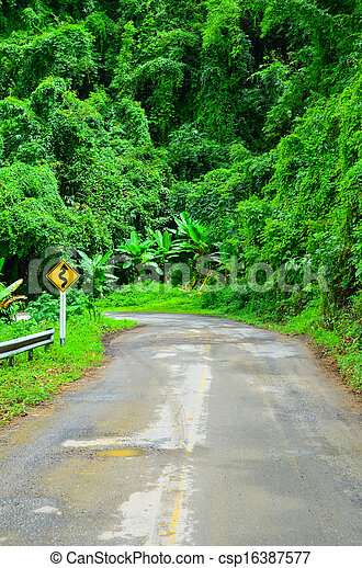 Country road with trees - csp16387577