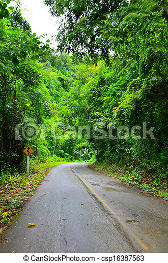 Country road with trees - csp16387563