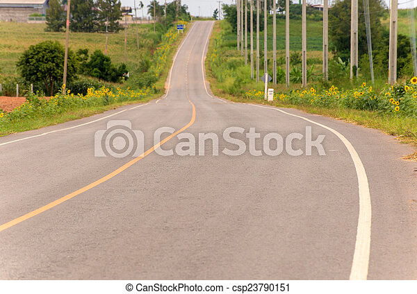 Country road with trees - csp23790151