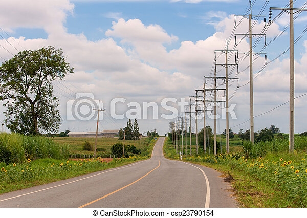 Country road with trees - csp23790154