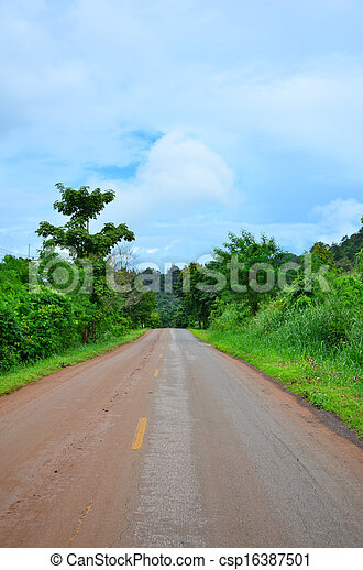 Country road with trees - csp16387501