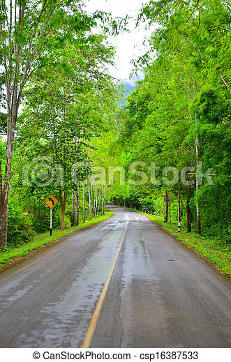 Country road with trees - csp16387533