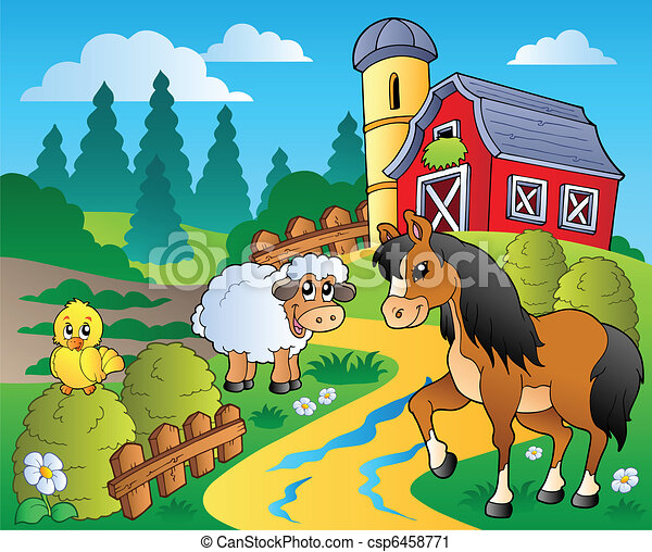 Country scene with red barn 2 - csp6458771