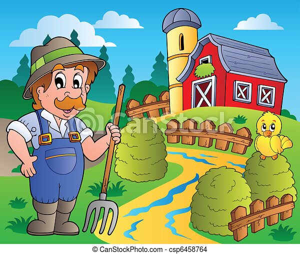Country scene with red barn 3 - csp6458764