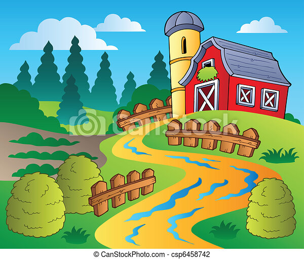 Country scene with red barn 4 - csp6458742