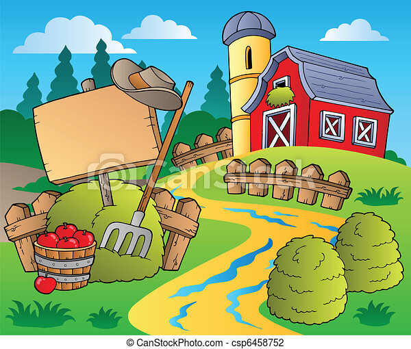 Country scene with red barn 5 - csp6458752