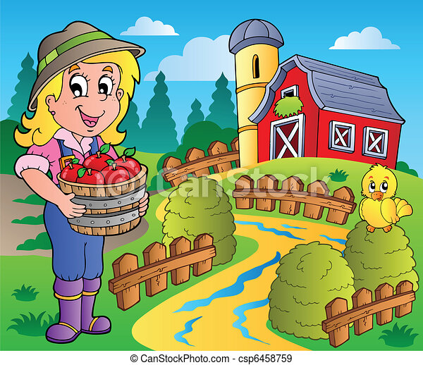 Country scene with red barn 7 - csp6458759