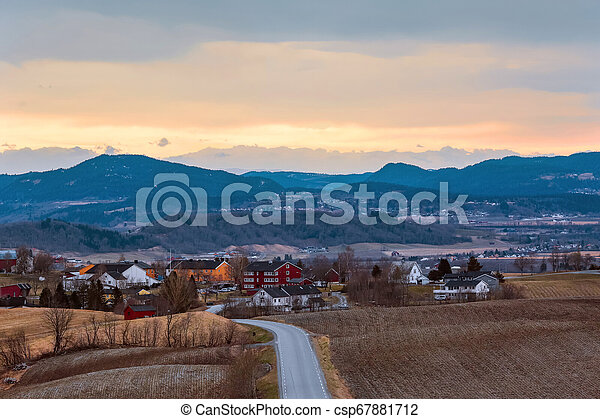 Country side in Norway in the spring - csp67881712