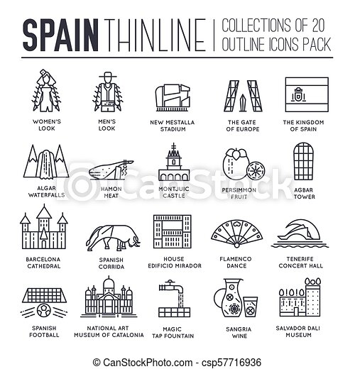 Country Spain thin line travel vacation guide of goods, places and features. Set of outline architecture, fashion, people, items, nature background concept. Infographic template design  on flat style - csp57716936