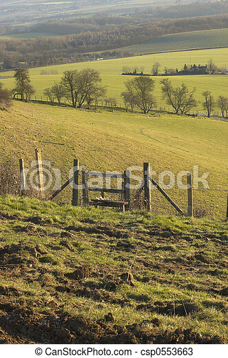 A Country Stile In Field In The Countryside