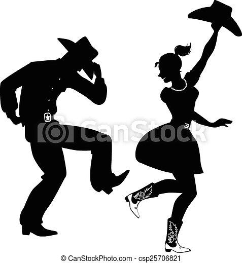 Silueta de baile country-oeste - csp25706821