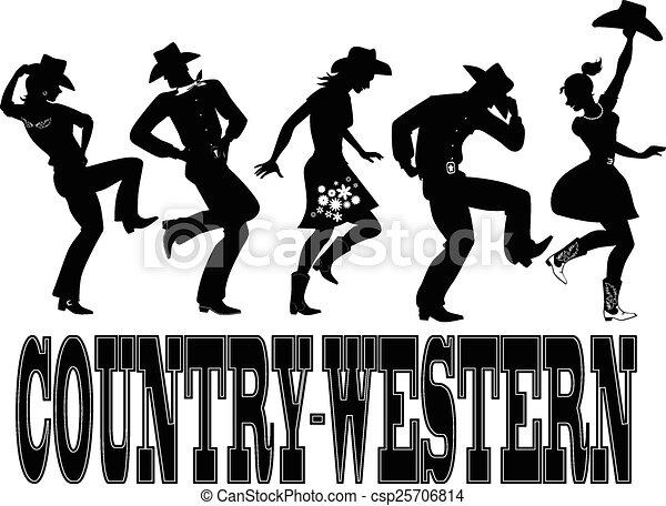 country-western, ballo, silhouette, ba - csp25706814
