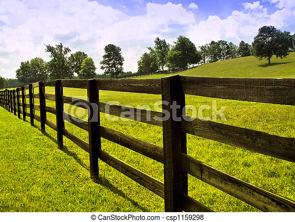 Countryside Fence View Of Wooden In Country
