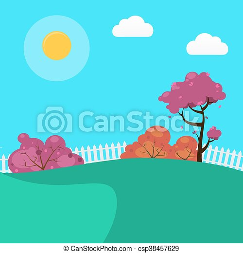 Countryside Landscape Background with Sunny Sky and Trees. Vector illustration - csp38457629