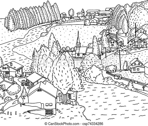 countryside landscape with house and river vector illustration sketch doodle hand drawn with black lines isolated on white https www canstockphoto com countryside landscape with house and 74334286 html