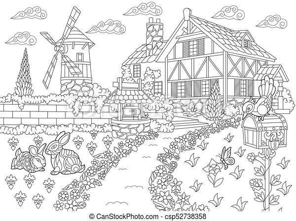 Countryside Mansion Coloring Page Of Rural Landscape Farm House