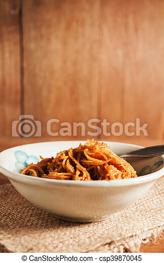 Countryside noodle in a old bowl in still life tone - csp39870045